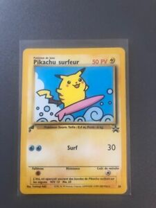 PIKACHU #28 SURFING PIKACHU (FRENCH) GOLD TAIL STAMP - RARE NEAR MINT CONDITION!
