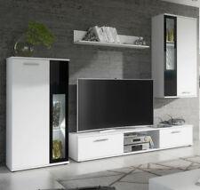Mueble de salón Atila blanco mate y cristal negro (2,35m)