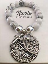 White Howlite bracelet St Christopher, Cross, St Gerard Clear Evil Eye Fertility