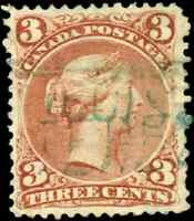 Canada #25 used F-VF 1868 Queen Victoria 3c red Large Queen BLUE REGISTERED canc