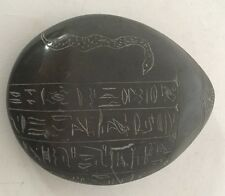 Vintage Scarab Egyptian Paperweight Eel/snake Hieroglyphics Carvings Sandstone