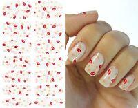 KISS CUTE RED PINK LIPS Nail Art Water Transfer DECAL sticker tattoo waterslide