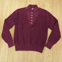 vtg usa made faded distressed LL BEAN cotton henley sweater LARGE fisherman