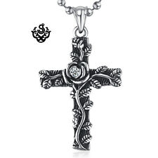 Silver pendant vintage style stainless steel cross rose cz ball chain necklace
