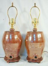 Antique English Eathenware Liquor Kegs Converted to Lamps