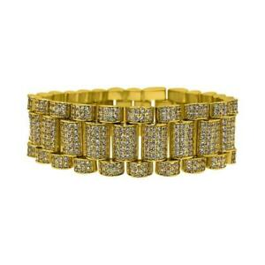 .925 Sterling Silver Gold President CZ Hip Hop Bling Iced Out Bracelet 22MM