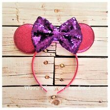 Hot Pink and purple Minnie Mouse inspired headband,first birthday