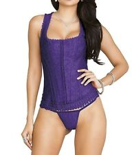 iCollection Lingerie Women's Brocade Racerback Corset and G-String - 7248