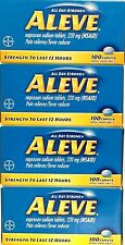 ALEVE NAPROXEN SODIUM 220mg (NSAID) 4 X 100 CAPLETS (400) PAIN RELIEVER EX 8/18+