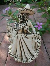 """Mexican Talavera Catrina Day Of The Dead Folk Art Handmade Fishbone Carving 9"""""""