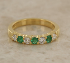 18ct Yellow Gold Emerald and Diamond Seven Stone Ring