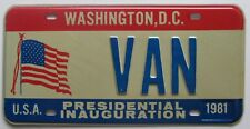 Washington DC 1981 PRESIDENTIAL INAUGURATION GRAPHIC VANITY License Plate VAN