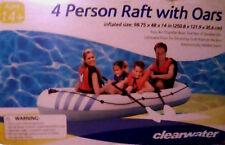 CLEAR WATER~4 PEOPLE/MAN~INFLATABLE~RAFT FLOAT BOAT+OAR SET+PUMP~POOL RIVER LAKE