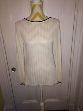 Elegant Kate Hill Ivory and Black Dressy Rayon Tunic Lord and Taylor size S