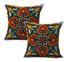 Us Seller-2pcs interior decoration of homeMexican Spanish talavera cushion cover