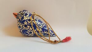 Papier Mache Blue & White Bird Hand Painted Hanging Ornament