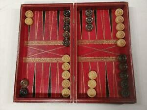 Antique Chess, Backgammon, Draughts, leather tooled, faux book Hist of England