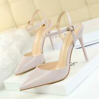 Women's Stiletto High Heels Pointed Toe Dress Ankle Strap Slip on Pumps Shoes