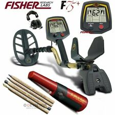 "Fisher F75+ Metal Detector 11""DD,Pinpointer F-Pulse, Cuffie stereo,Matite"