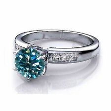 Engagement Ring Sterling Silver 7 Size Blue Moissanite 1.14 Carat Round Cut