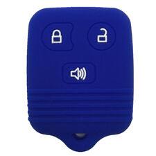 Blue Silicone Keyless Remote Key Fob Case Skin Cover fit for Ford 3 Buttons