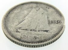 1946 Canada 10 Cents Silver Dime Circulated George VI Ten Cent Coin R420