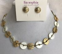 """Lia Sophia Windsong Necklace 15-18""""Mop & Forged Earrings 1/2"""" Matte Gold Tone"""