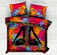 Indian Meditation Queen Comforter Set Quilt Cover Reversible Hippie Duvet Cover