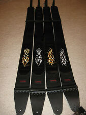 Nylon/Leather guitar strap with gold or silver tribal embroidery