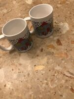 NEW Set 2 CIRCUS CIRCUS Coffee Mugs Tea Cups Childrens Horse Lion Elephant Band