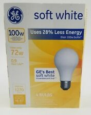 4 Pack GE 100w 72w Soft White Incandescent Standard Bulbs 66249 1270 lumens