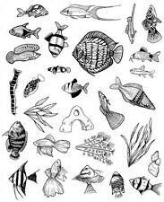 28 aquarium fish tank Rubber Stamp unmounted stamps