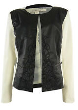 Ellen Tracy Size XSmall Creme White Black Faux Leather Embroidered Jacket Coat