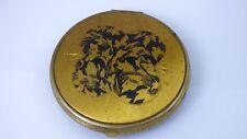 Vintage Gold Black Enamel Celluloid Compact Etched Art Noveaux Flowers Art Deco