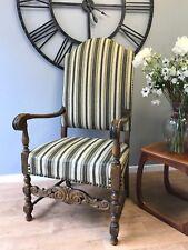 Antique Flemish Style Carved Oak Camel Back Armchair