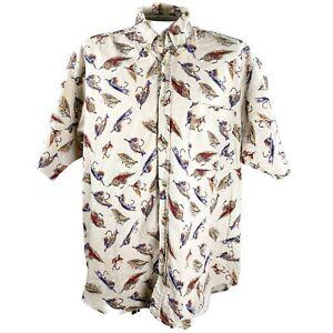 Columbia Fishing Flies Rustic Large Beige Tan Shirt