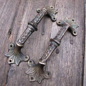 Antique Pair of Ornate Bronze Furniture Door / Drawer Handle Pulls