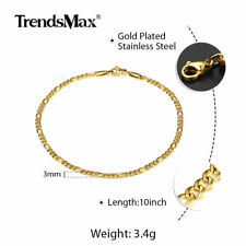 "Link Chain Anklet Bracelet Pop Jewelry 3mm 10"" Gold Plated Stainless Steel Rope"