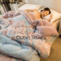 Luxury Flannel Fleece Cashmere Comforter Quilt Bed Set Blanket Mattress Cover