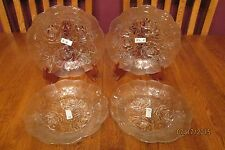 *NWT* Four Rose Embossed Clear Glass Rimmed Soup Salad Bowls ~ KIM Indonesia