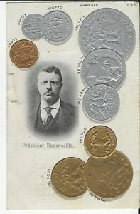 GENUINE VINTAGE EMBOSSED POSTCARD,COINS,PRESIDENT ROOSEVELDT,1905