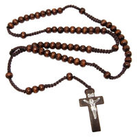 Wooden beads Rosary w/ Christian Cross Crucifix from Jerusalem Holy Land 18''
