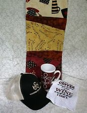 Coffee Related Gift Set Includes Towel, Hat, Organizer, Mug