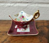 Vintage Hand Painted Floral Mini Square Tea Cup & Saucer Made in Occupied Japan