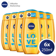 6x 250ml NIVEA Love Sunshine Pflegedusche - Duschgel Aloe Vera NIVEA SUN Duft