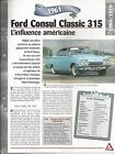 VOITURE FORD CONSUL CLASSIC 315 FICHE TECHNIQUE AUTO 1961 COLLECTION CAR FRANCE
