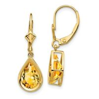 14k Yellow Gold 10x7mm Pear Citrine Leverback Earrings 3.5 ct