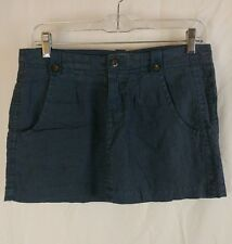 "Joie California 100% Linen Sz 2 12"" Mini Skirt Dark Blue 4 Pockets Snap Loops"
