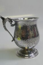 90% Silver Hand Hammered Travel Cup / Cup - Dolphin Christening Mug