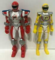 LOT OF 2 POWER RANGERS OPERATION OVERDRIVE RED & YELLOW RANGERS BANDAI